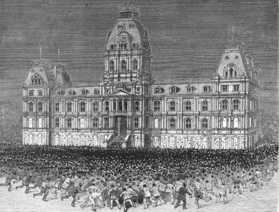 An artist's depiction of the Leicester anti-compulsory vaccination protest of 1885 which saw up to 100,000 people marching against compulsory shots.